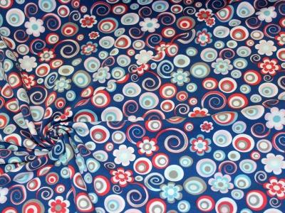 Jersey Kreise Blumen taubenblau
