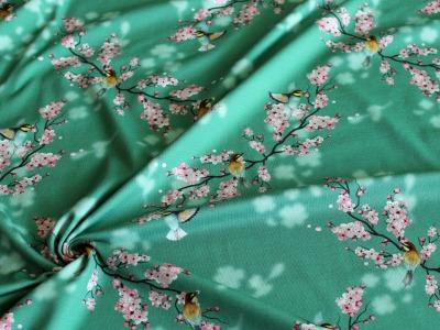 Baumwolljersey Kirschblüten Sakura Vögelchen petrol - Dieser Jersey lädt zum Träumen ein
