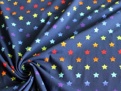Jersey Regenbogen Sterne blau bunt