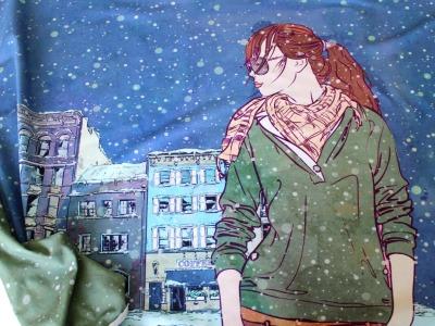 Stoffpaket Panel Winter Woman und 75cm Kombistoff Jersey einfarbig - Dieser Stoff ist definitiv auch sommertauglich