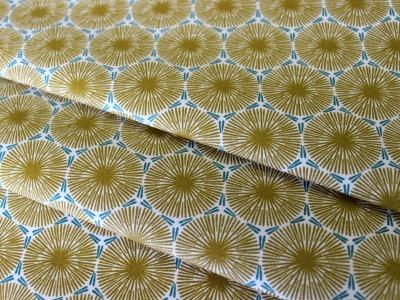 Beschichtete Baumwolle Ornamente senf- mint