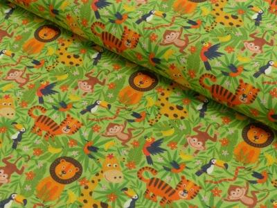 Baumwolle Dschungeltiere Löwe Giraffe Affe
