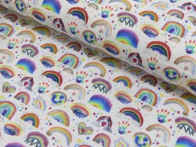 Baumwolle Baumwolle Regenbogen weiß bunt