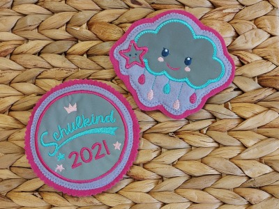 2er Set Klett Patches Schulkind und