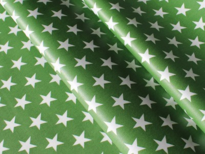 Beschichtete Baumwolle Sterne grün