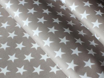 Beschichtete Baumwolle Sterne taupe beige