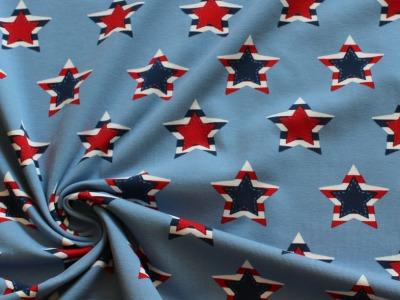 Jersey Sterne Patchwork blau