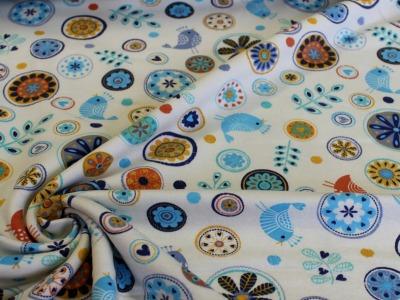 French Terry Blumen Voegelchen blau gelb bunt