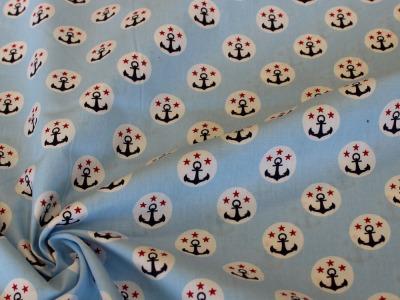 Baumwolle Anker Kreise Sterne hellblau