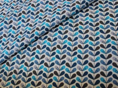 Beschichtete Baumwolle Blumen Bumenranke blau