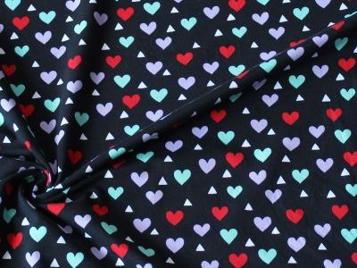 Jersey Herz Herzen schwarz bunt