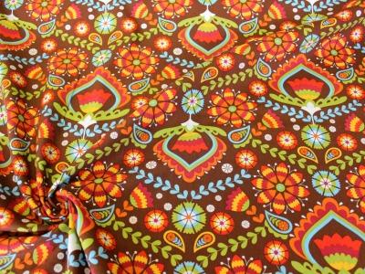 Baumwolle Ornamente und Blumen braun