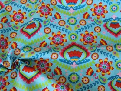 Baumwolle Ornamente und Blumen türkis