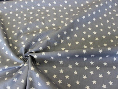 Baumwolle Sterne hellgrau weiß