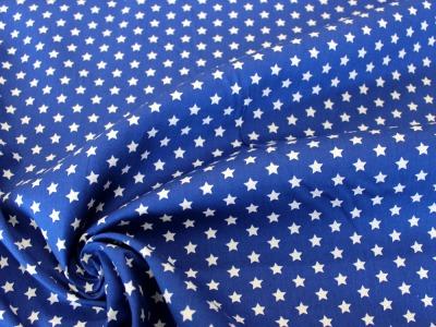 Baumwolle Sterne royalblau weiß
