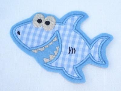 Applikation Aufnäher Stickerei Hai Fisch Haifisch