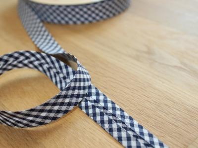 1m Schrägband Vichykaro 18mm dunkelblau