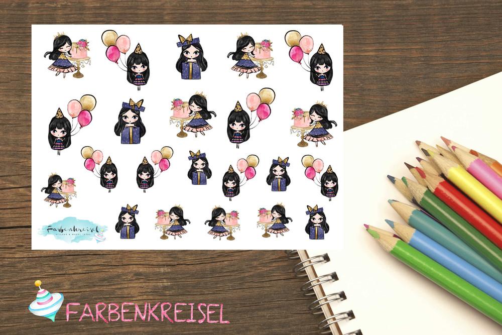 Girl Sticker Geburtstag Comic Farbenkreisel Sticker Washi Tapes