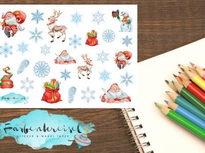 Weihnachten Santa und Schneeflocken