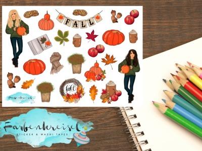 Herbst Sticker Kürbis