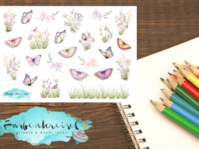 Frühling Sticker Schmetterlinge