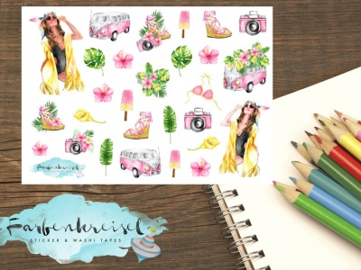 Strand/Sommer Sticker gelb/pink