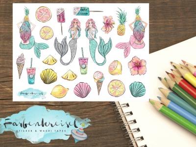 Sommer Meerjungfrau Sticker