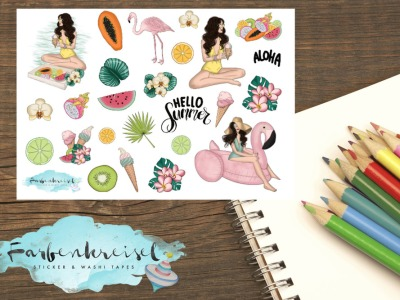 Sommer Flamingo Lady Sticker