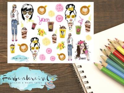 Sommer Kaffee Girl Sticker