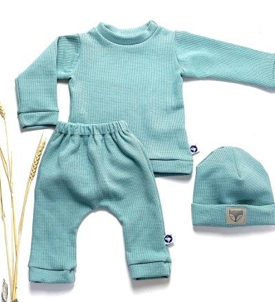 Baby Set aus Waffelstrick in Wunschfarbe