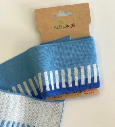 Bio-Bündchen - Striche - Icon - This Summer - Cuff Me - Hamburger Liebe - Weiß/blau - Zajaz -einzigartige Stoffe