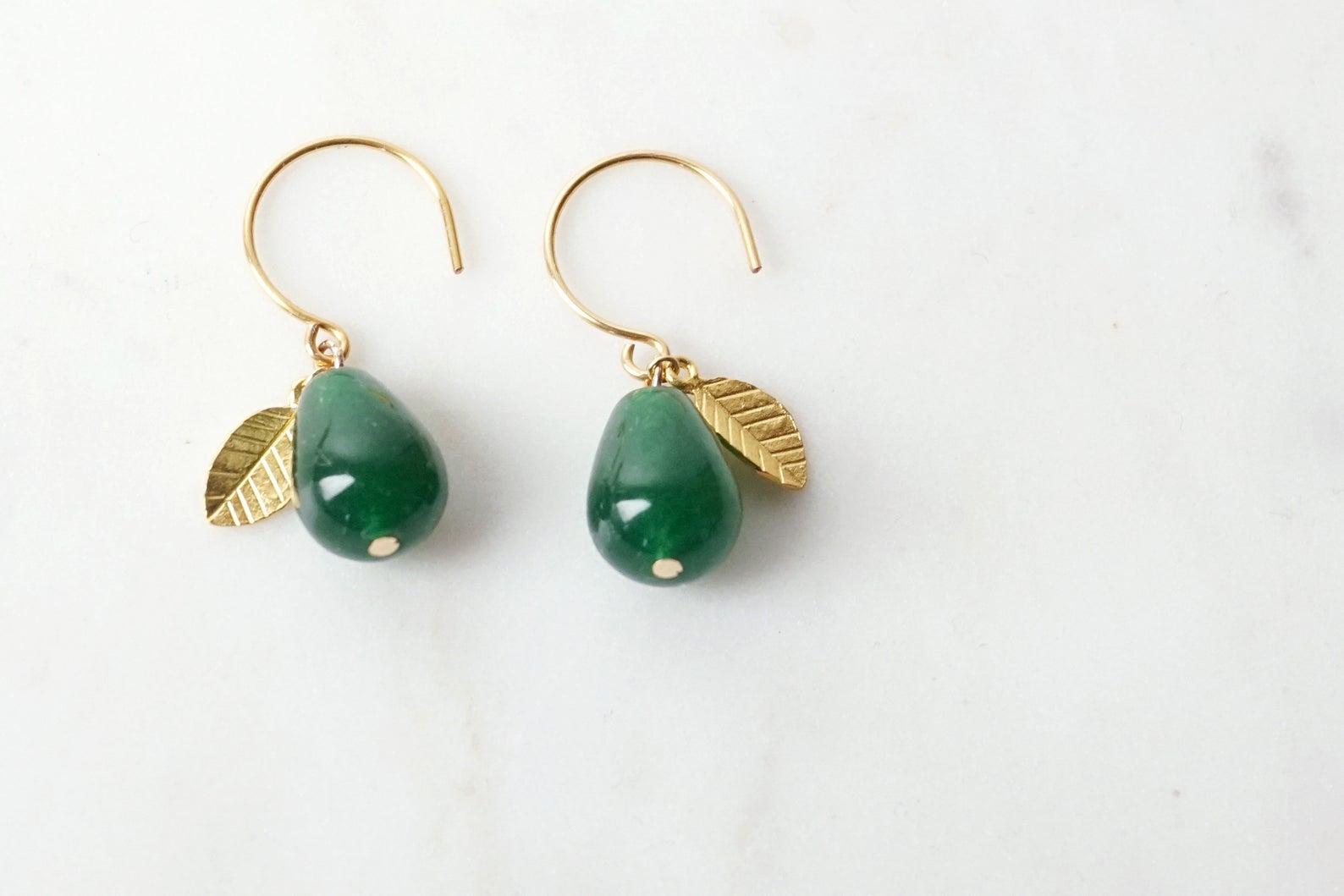 Ohrhänger vergoldet mit Tropfen aus grüner