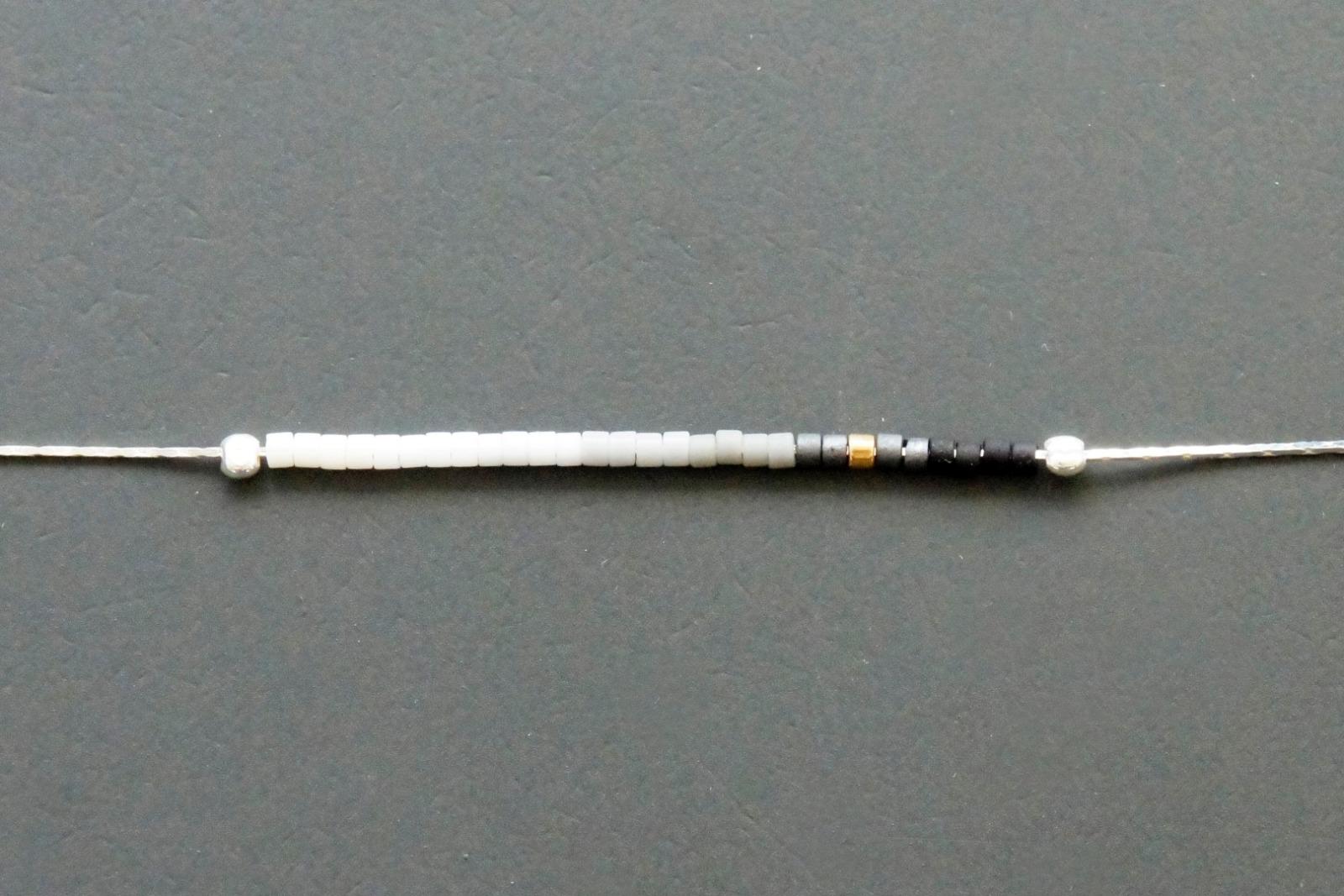 Filigranes Armband 925 Silber Verlauf schwarz-weiß