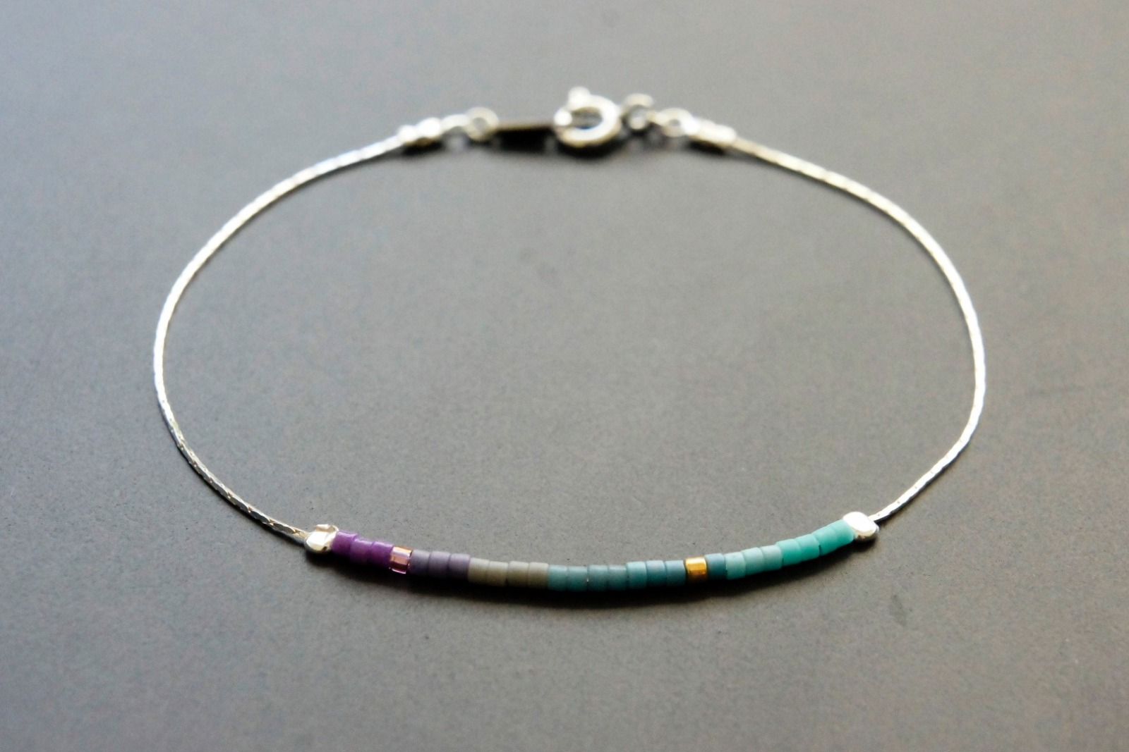 Filigranes Armband 925 Silber Verlauf lila-türkis - 1