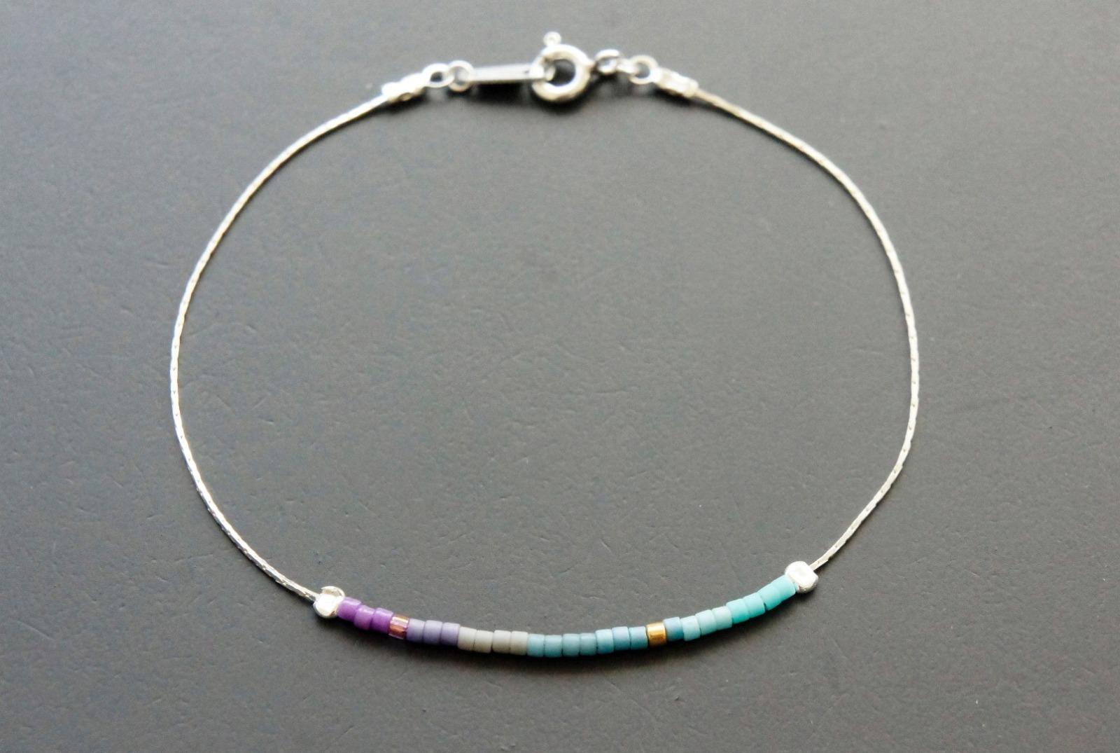 Filigranes Armband 925 Silber Verlauf lila-türkis - 2