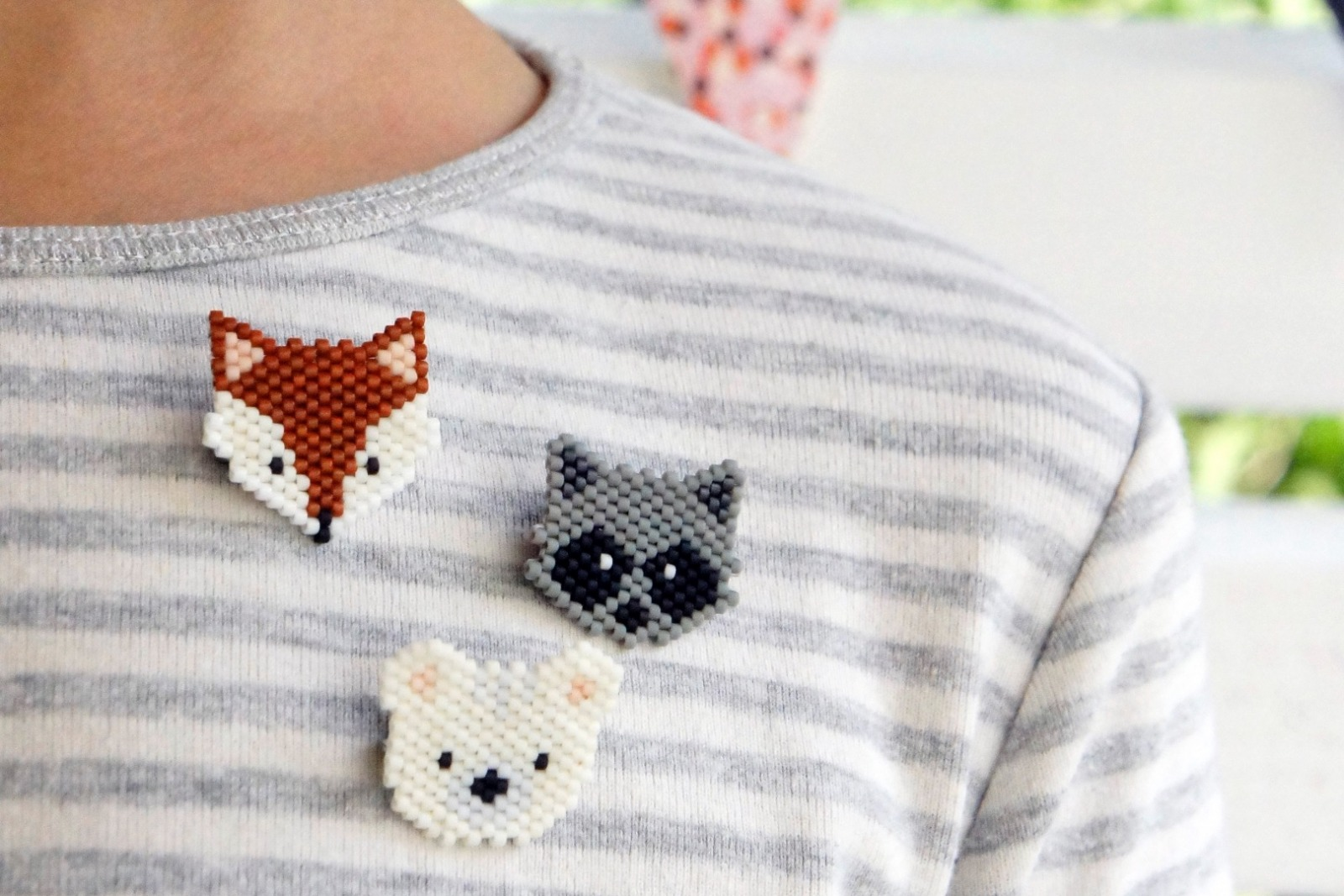Brosche Pin Fuchs aus Miyukiperlen 2