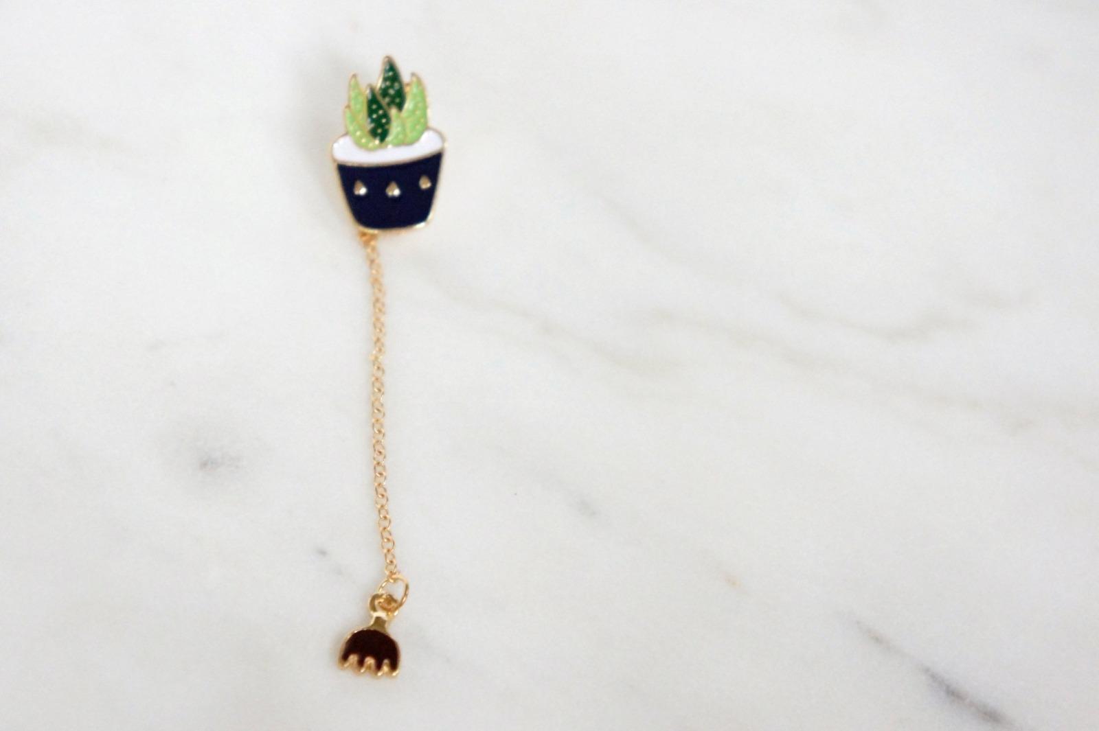 Brosche Pin Sukkulente grün mit Kette - 2