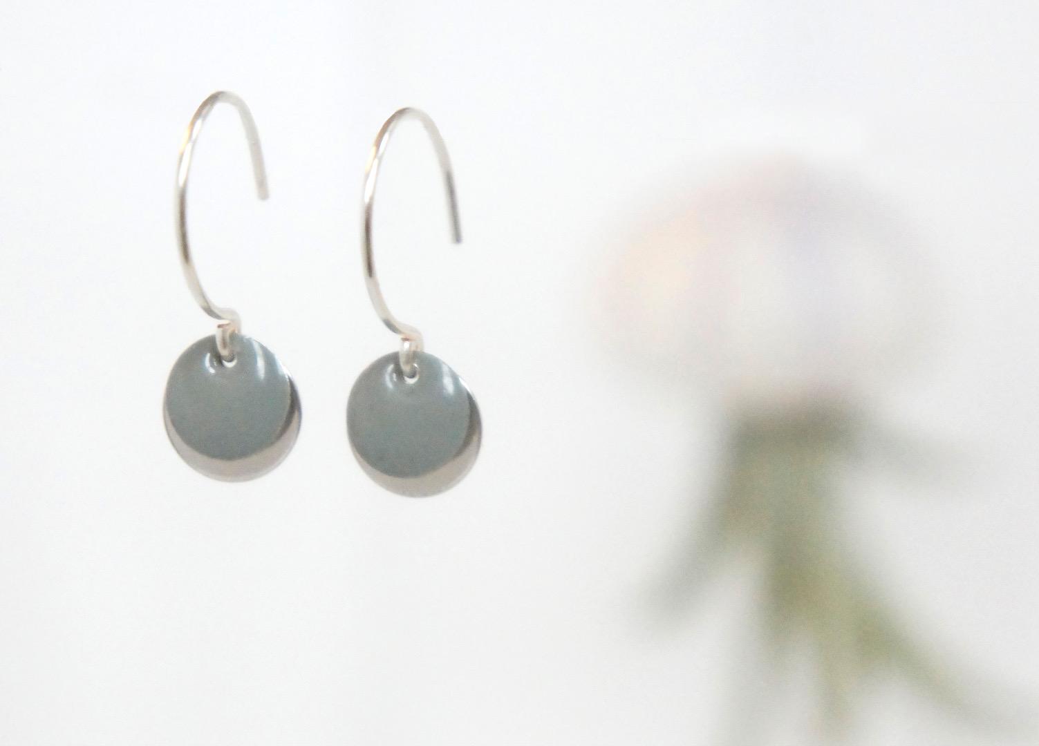 Ohrringe Sterling silber mit Emailleplättchen grau - 1