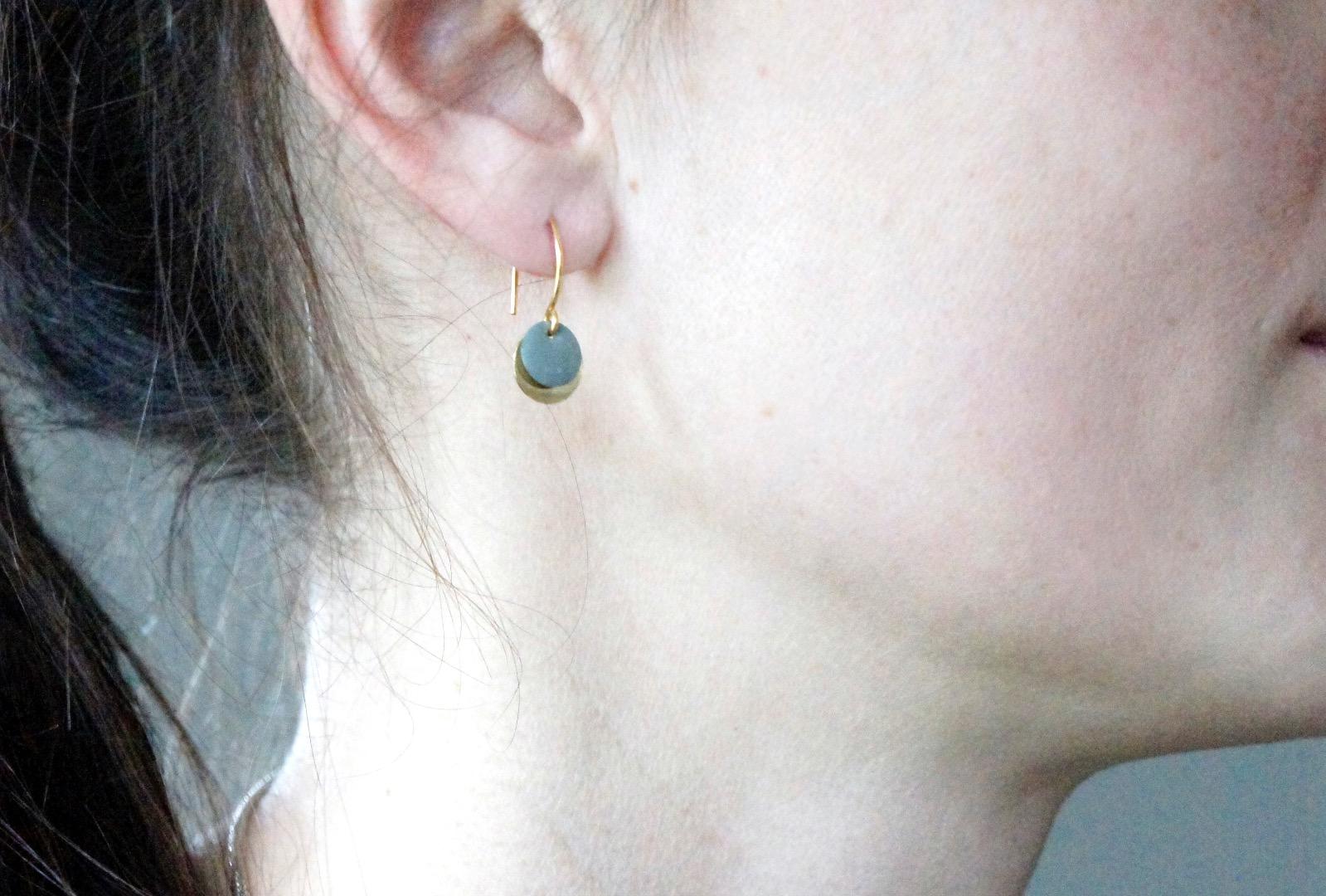 Ohrringe Sterling silber mit Emailleplättchen grau - 3