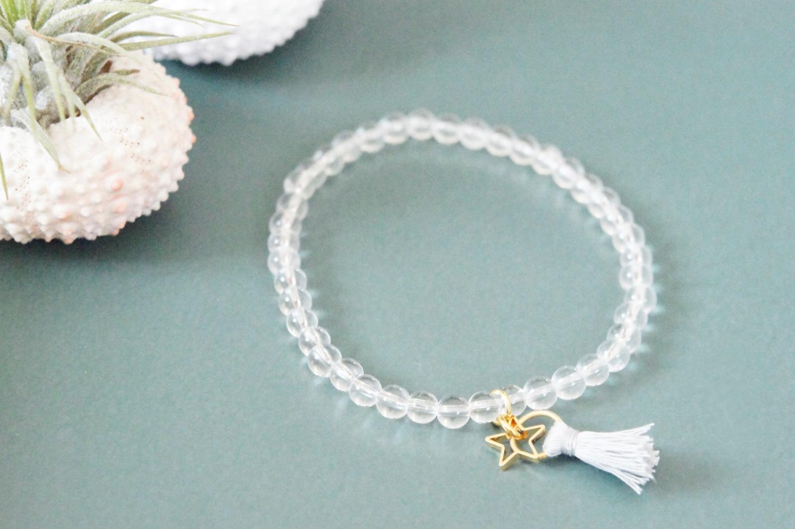 Armband Bergkristall mit Quaste und goldenem