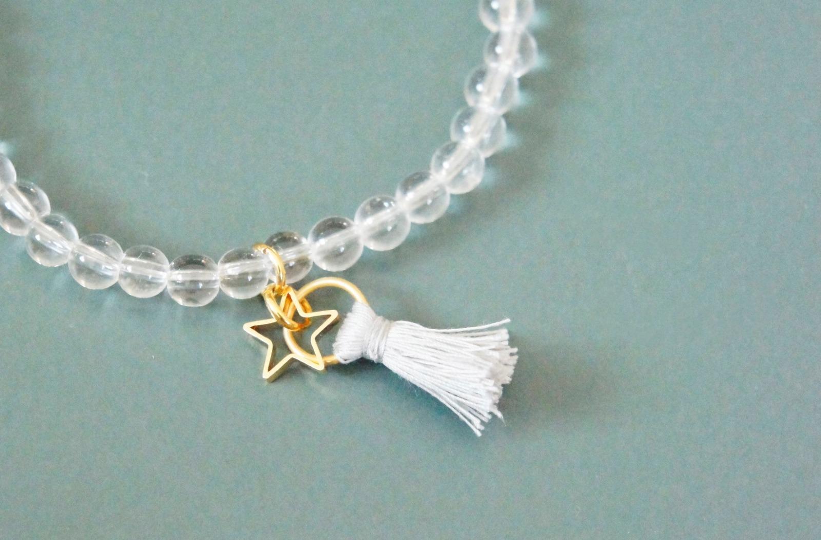 Armband Bergkristall mit Quaste und goldenem - 2