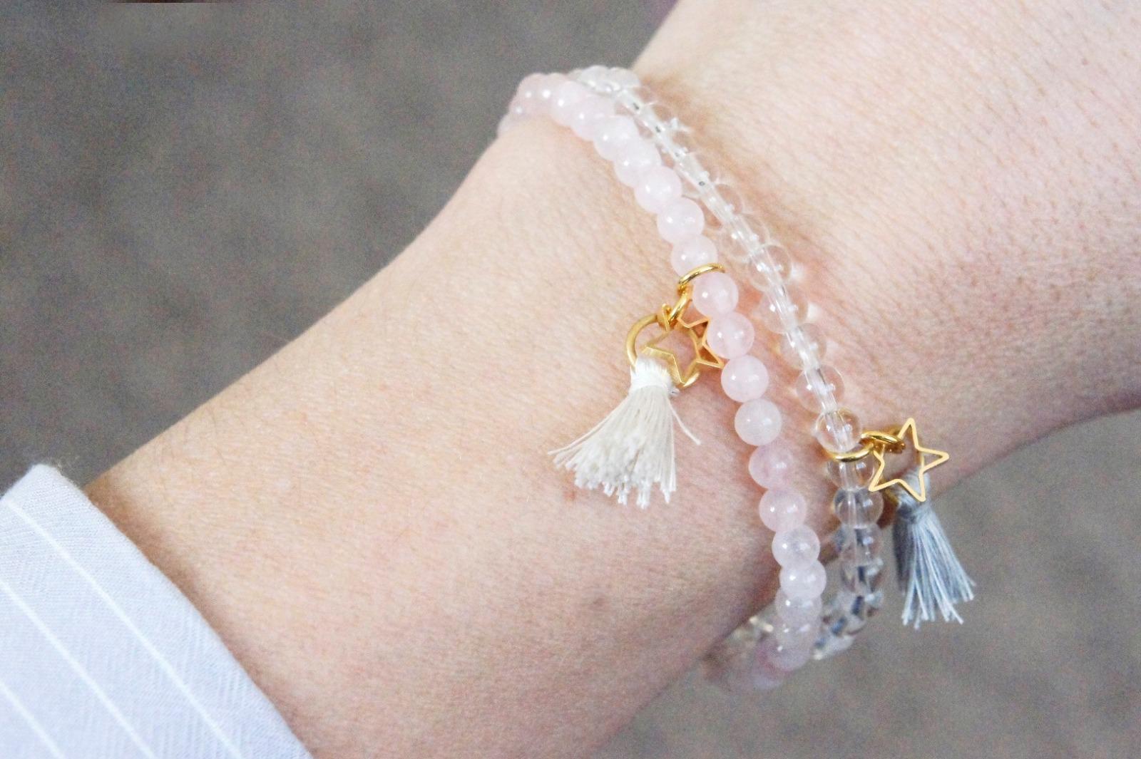 Armband Bergkristall mit Quaste und goldenem - 3