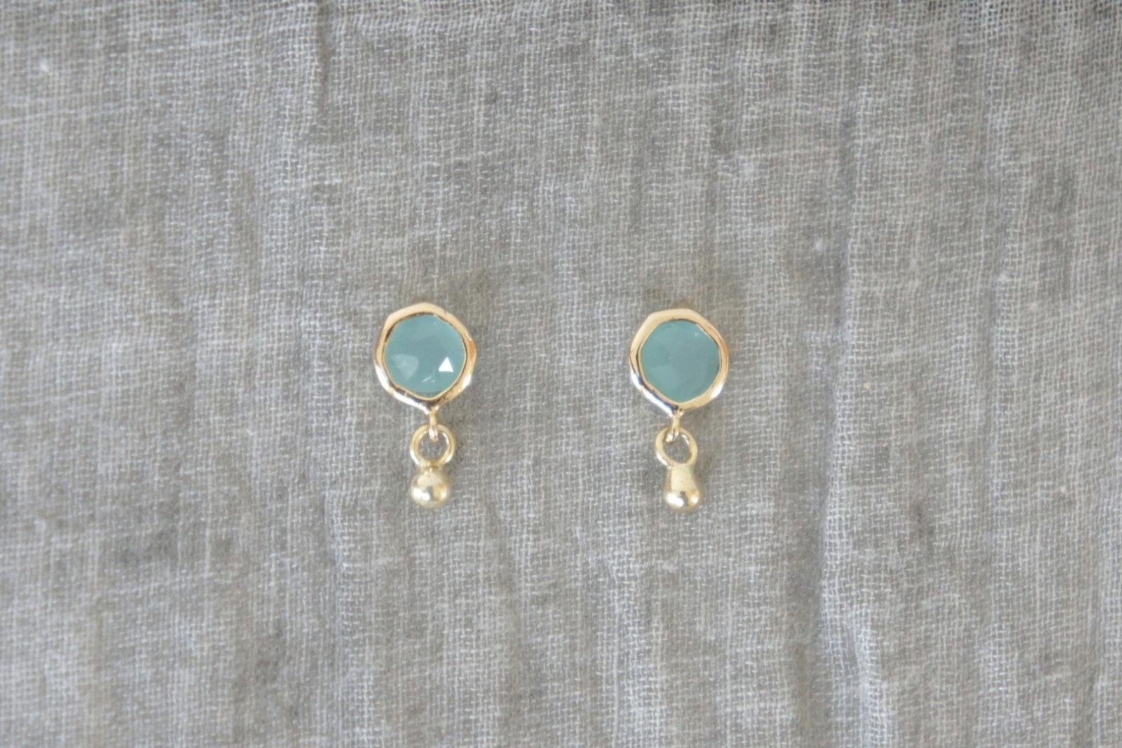 Ohrstecker Mint Kristall mit Goldperle - 1