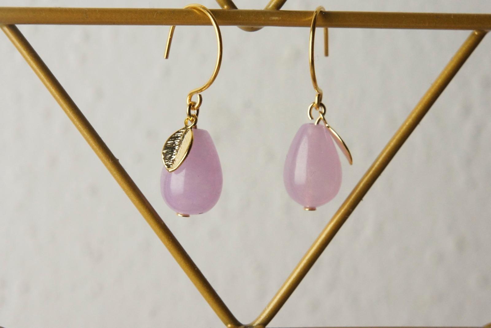 Ohrhänger vergoldet mit Tropfen aus rosa