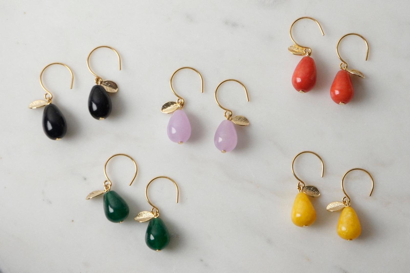 Ohrhänger vergoldet mit Tropfen aus gelber