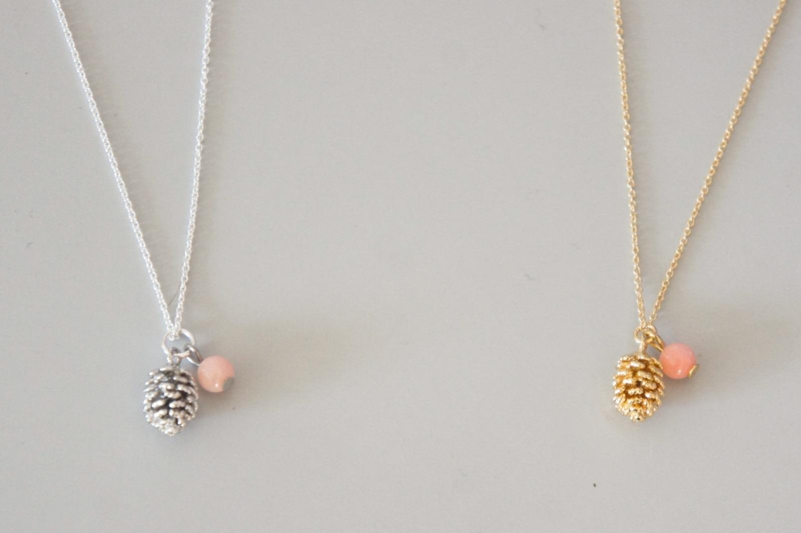 Ankerkette Sterling Silber vergoldet Charm Tannenzapfen