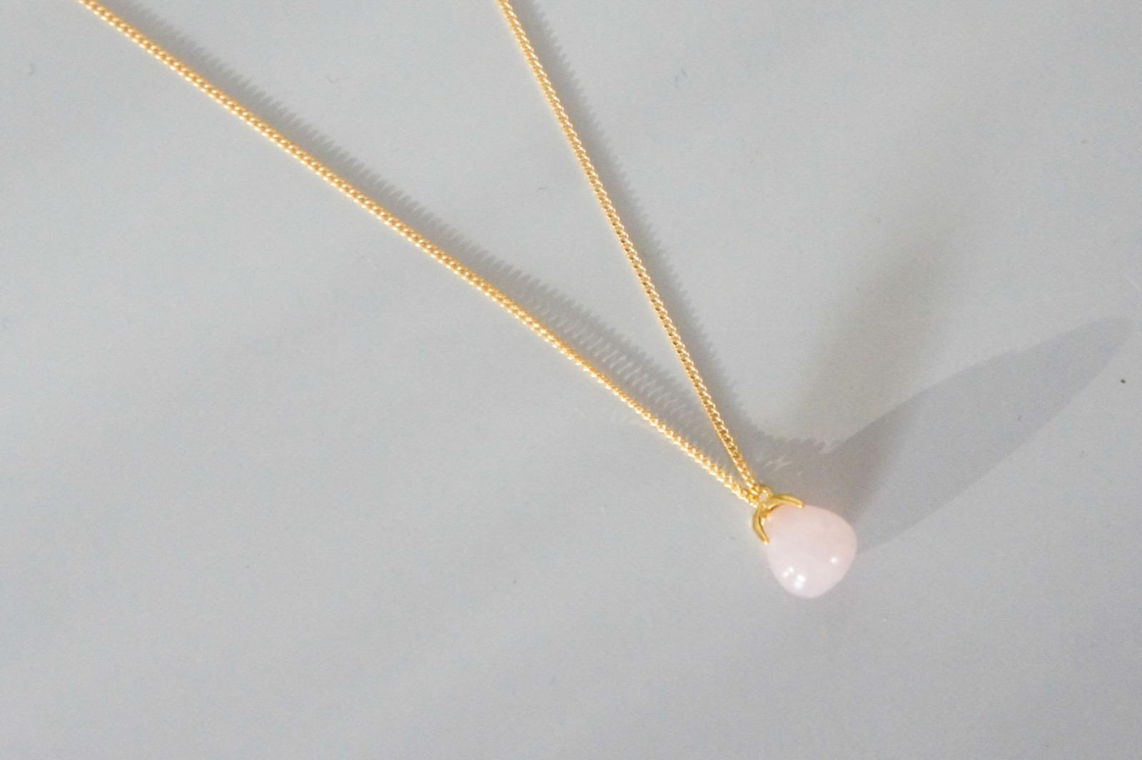 Kabelkette vergoldet mit Anhänger aus Rosenquarz