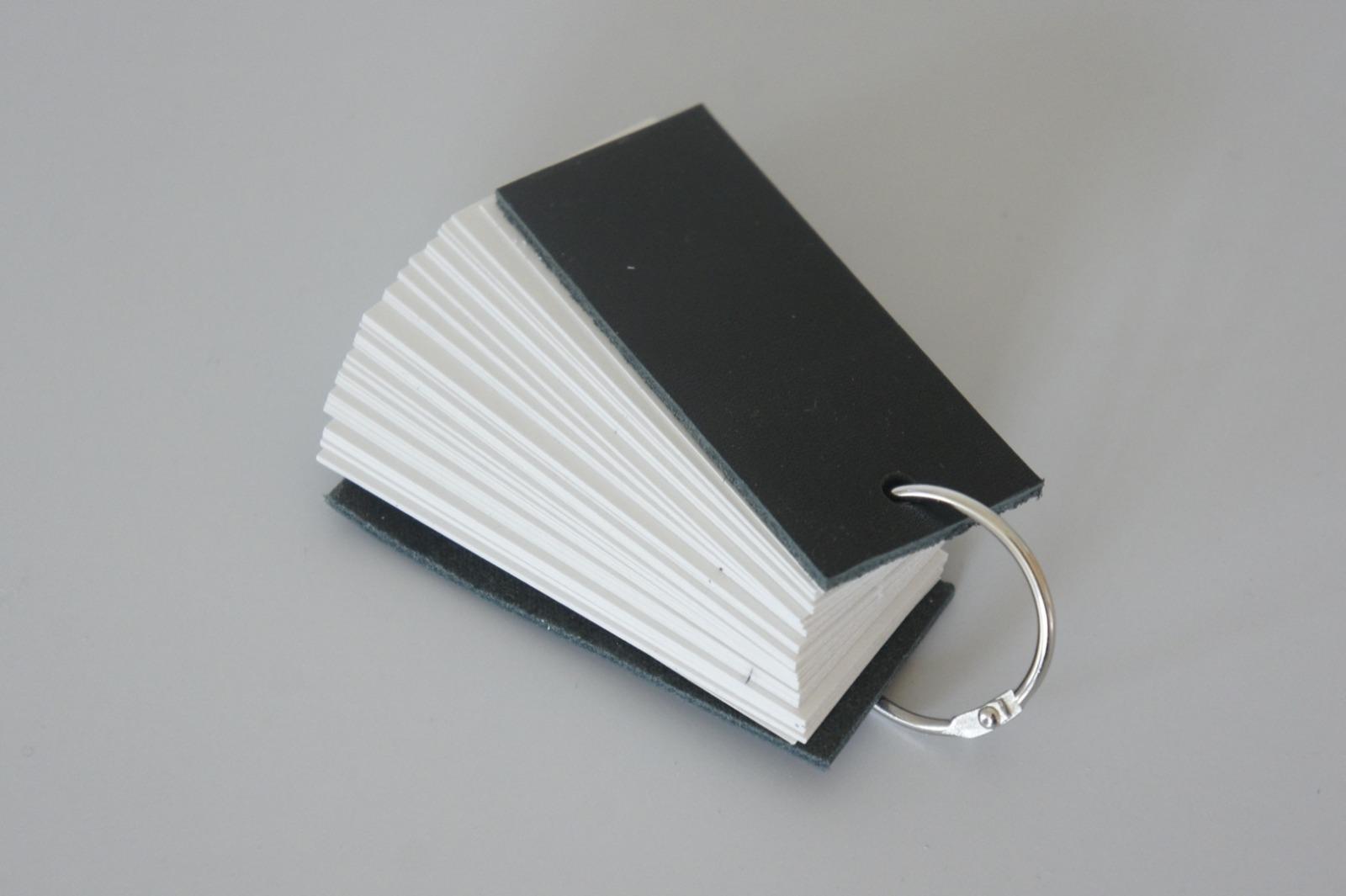 Mini Notizbuch Vokabeltrainer Leder - schwarz