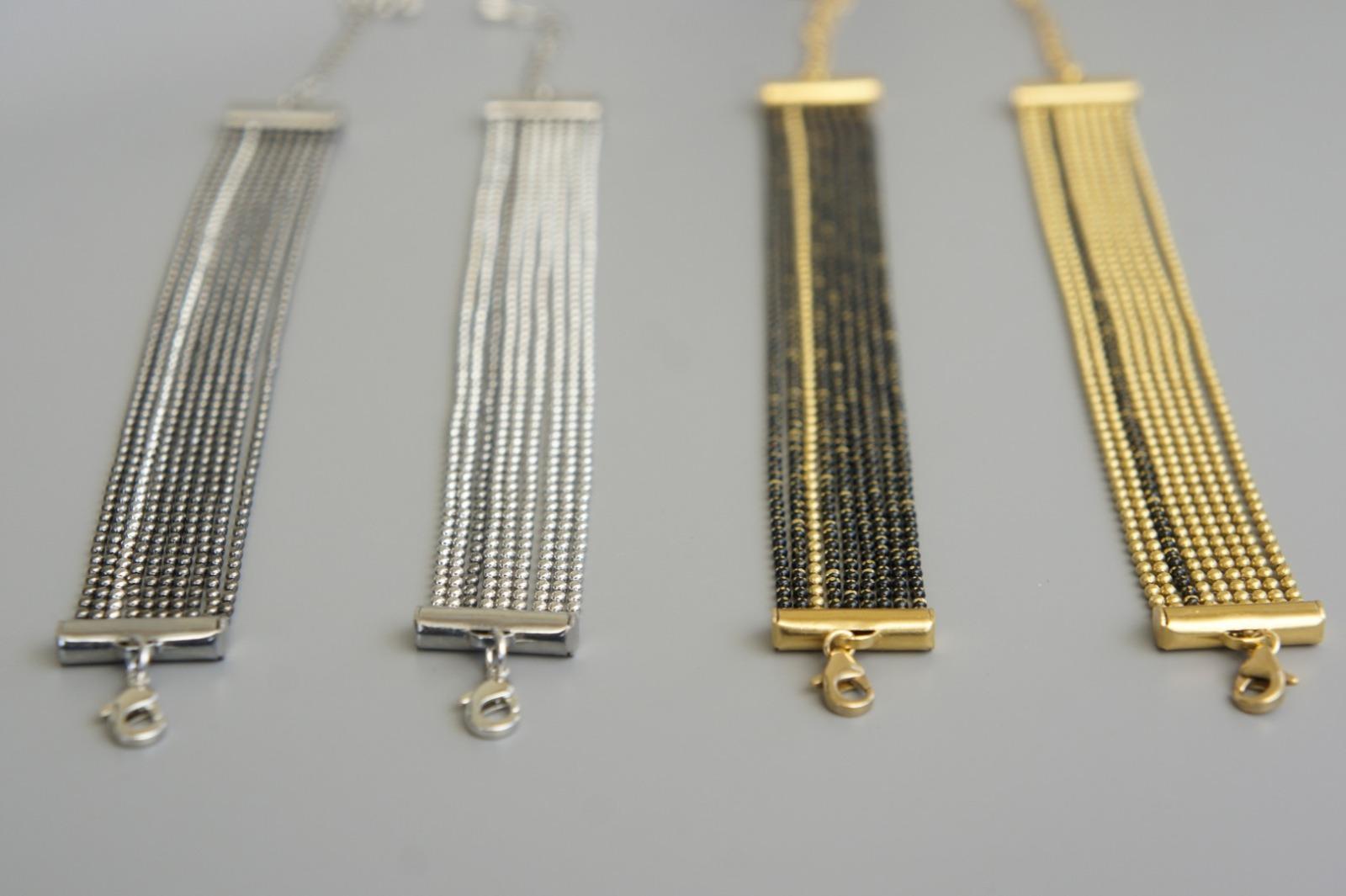 Mehrreihiges Armband Kugelkette Messing schwarz-silber 4
