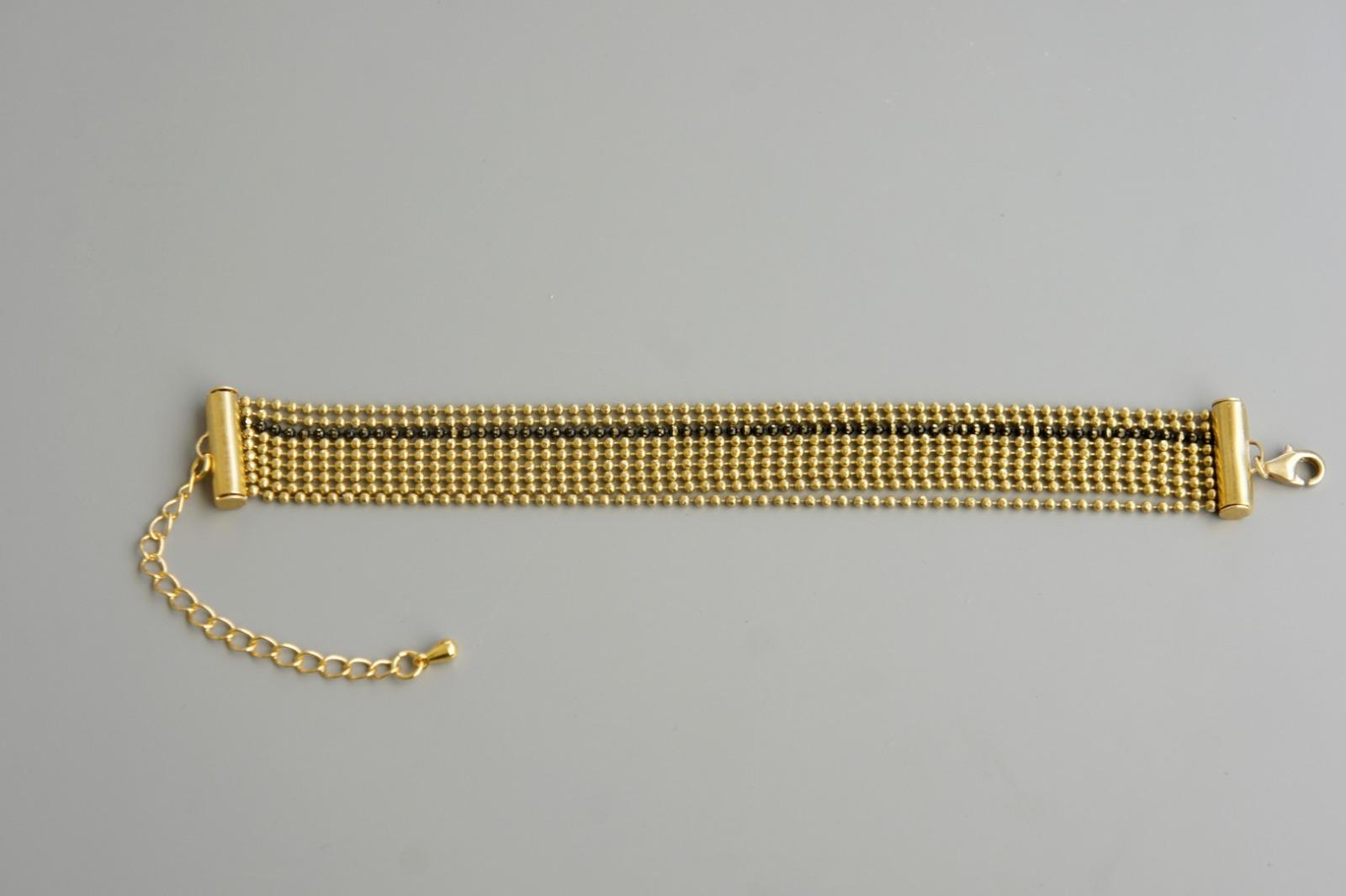 Mehrreihiges Armband Kugelkette Messing gold 2